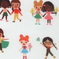 Bright Days - Happy Little Girls on Ivory