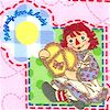 Raggedy Ann and Andy Patches on Pink FLANNEL- LTD. YARDAGE AVAILABLE