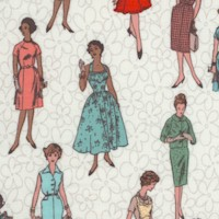 Stitch All the Things! Vintage Ladies on Ivory - 43/44 Inches wide