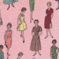 Stitch All the Things! Vintage Ladies on Pink - 43/44 Inches wide
