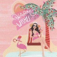 Flamingo Christmas - Holiday Vacation Greetings by Lauren Poole