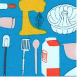 Bake - Retro Baking Supplies and Utensils on Blue by Julia Rothman