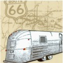 Route 66 - Retro Campers, Trailers and Vans on Beige Map- LTD. YARDAGE AVAILABLE (.83 YD) MUST BE PU