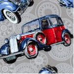 Classic Cars - Tossed Vintage Cars on Grey