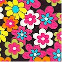 Feelin� Groovy - Colorful Retro Floral on Black- LTD. YARDAGE AVAILABLE IN 2 PIECES