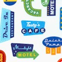 Out �n About - Retro Road Signs on Ivory by Caleb Gray