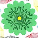 Anything Goes - Retro Flowers and Spiro Shapes on White