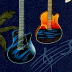 Sunset - Tropical Guitars and Woodies on Navy - LTD. YARDAGE AVAILABLE