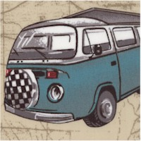 Retro Campers and Vans on Route 66 Roadmap