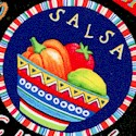 Fiesta- Tossed Salsa Labels and Peppers on Black - LTD. YARDAGE AVAILABLE