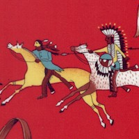 Native American Scenes on Red - LTD. YARDAGE AVAILABLE
