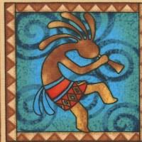 Southwest - Colorful Kokopelli in Squares by Dan Morris