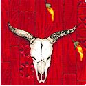 Enchanted Desert Steer Skulls and Chili Peppers on Crimson  - BACK IN STOCK!