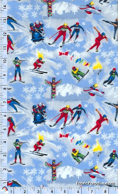 Winter Sports Tossed Olympic Athletes On Blue Flannel By
