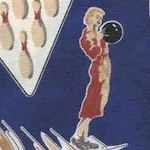 Retro Bowling Scenes on Navy - SALE! (MINIMUM PURCHASE 1 YARD)