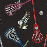 Sports Collection - Tossed Lacrosse Equipment on Black