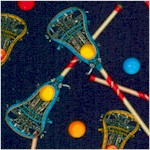 Tossed Lacrosse Sticks on Navy Blue (SP-lacrosse-X888)