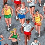 Marathon Runners on Gray - LTD. YARDAGE AVAILABLE (.625 YARD; MUST BE PURCHASED IN FULL.)
