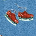 Winter Fun - Tossed Skates on Blue by Norman Rockwell