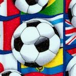 Soccer Balls on Packed International Flags