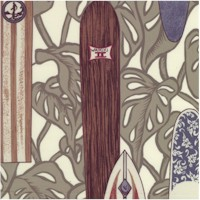 Tropical Surfboards on Ivory - Rayon/Cotton Blend