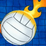 Flaming Volleyballs on Blue