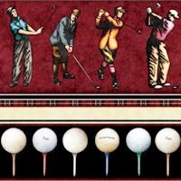 Chip Shot - Golfing Vertical Stripe on Burgundy by Dan Morris