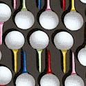 Swing Time - Golf Balls and Tees in Formation on Gray