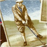 On the Green - Tossed Vintage Golfers and Golfballs on Navy
