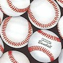 Packed Official League Baseballs on Black- LTD. YARDAGE AVAILABLE IN 2 PIECES