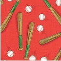 Paddington Sports - Baseball Bats and Balls on Red
