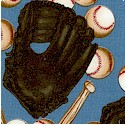 Play Ball - Tossed Baseballs  Gloves and Bats on Blue