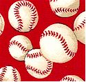 Tossed Small-Scale Baseballs on Red - BACK IN STOCK!