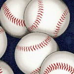 Sports Life 3 - Tossed Baseballs on Navy Blue