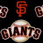 San Fransisco Giants Tossed Baseball Logos on Black - 58 Inches Wide!
