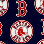 Boston Red Sox Tossed Baseball Logos on Navy Blue - 58 Inches Wide!