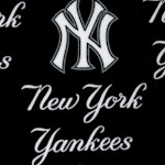 New York Yankees Tossed Logo on Navy Blue - 58 Inches Wide!