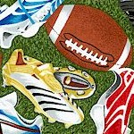 Sports Novelty - Tossed Footballs and Cleats on Green