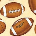 Sports Club - Tossed Footballs on Natural by Dan Morris