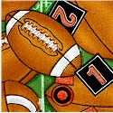 Sew Sporty - Tossed Footballs on Field Background by Dan Morris