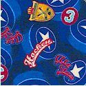 Collegiate Hockey - Tossed Equipment and Symbols on Blue FLANNEL- LTD. YARDAGE AVAILABLE
