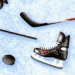 Sports Life 3 - Tossed Hockey Equipment on Ice- LTD. YARDAGE AVAILABLE IN 2 PIECES