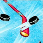 Tossed Hockey Equipment on Blue