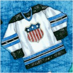 Faceoff - Tossed Hockey Jerseys on Blue by Dan Morris