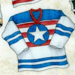 Face Off - Tossed Hockey Jerseys on Cream by Dan Morris