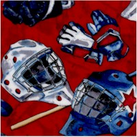 Power Play - Tossed Hockey Equipment on Red