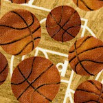 Sports - Tossed Basketballs Over Basketball Courts - LTD. YARDAGE AVAILABLE IN 2 PIECES