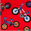 Rad Riders - Tossed Bikes on Red by Terry Perry