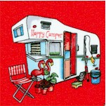 Happy Camper - Tossed Campers on Red by City Art Studio