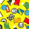 Vroom! Small-Scale Tossed Racing Flags on Yellow - SALE! (1 YARD MINIMUM PURCHASE)